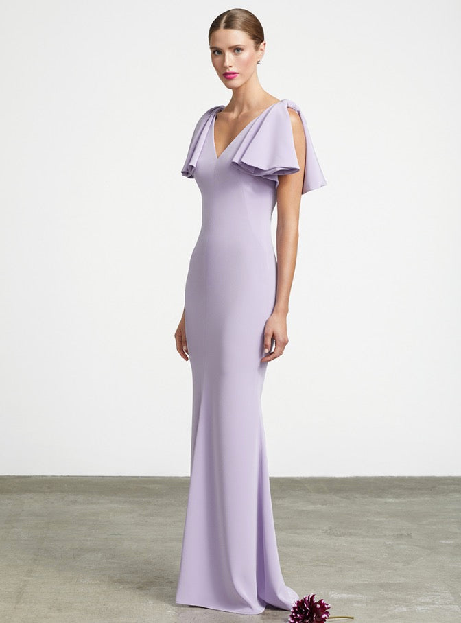FRASCARA Sleeveless V-Neck Gown with Flounce Shoulder. Robe de soirée