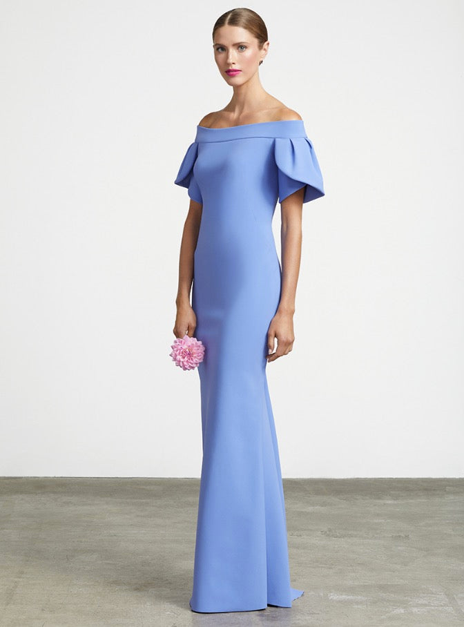 FRASCARA Off the Shoulder Tulip Sleeve Gown. Robe de soirée