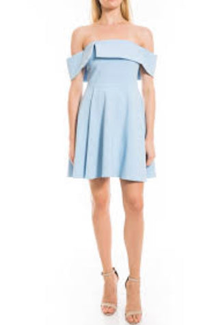 Ruffle Off the Shoulder Flare Blue Dress. Robe blanche blue