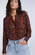 SET Button Up Sheer Floral Print Blouse