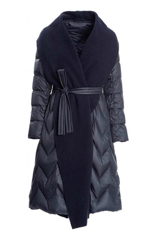 SEVENTY Navy Wrap Down Coat with Belt