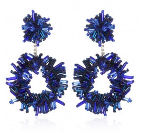 Blue designer earrings Boucles d'oreilles SUZANNA DAI Firebust