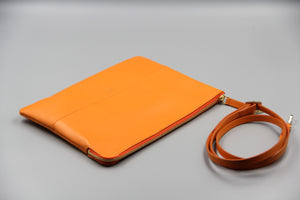 Designer accessories leather clutch pochette en cuir orange