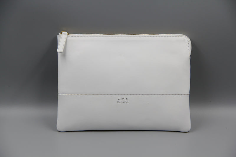Designer Alice D White leather clutch pochette en cuir blanc