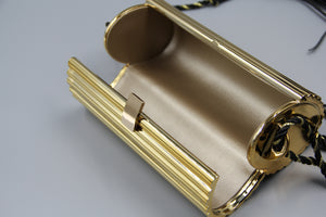 Golden Metal Tube Clutch Pochette dorée