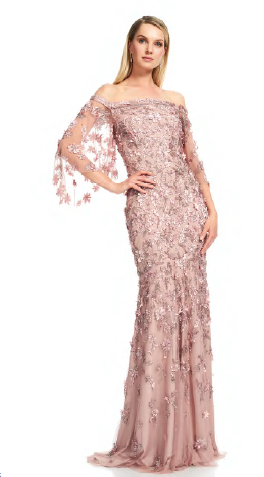 THEIA Vintage Off the shoulder petal sequin gown. Robe de sirène paillette