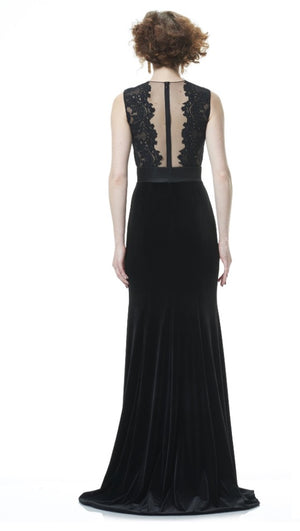 THEIA Lace Gown Illusion V-neck. Robe longue en dentelle