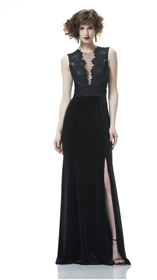 THEIA V-neck illusion gown lace. Robe longue fente laterale