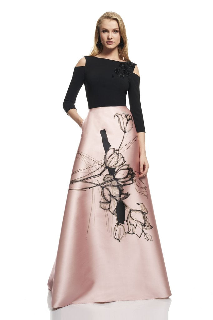 Theia Gown Back view. Robe Longue de soiree