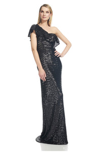 THEIA One shoulder sequin gown.  Robe à paillettes à une épaule