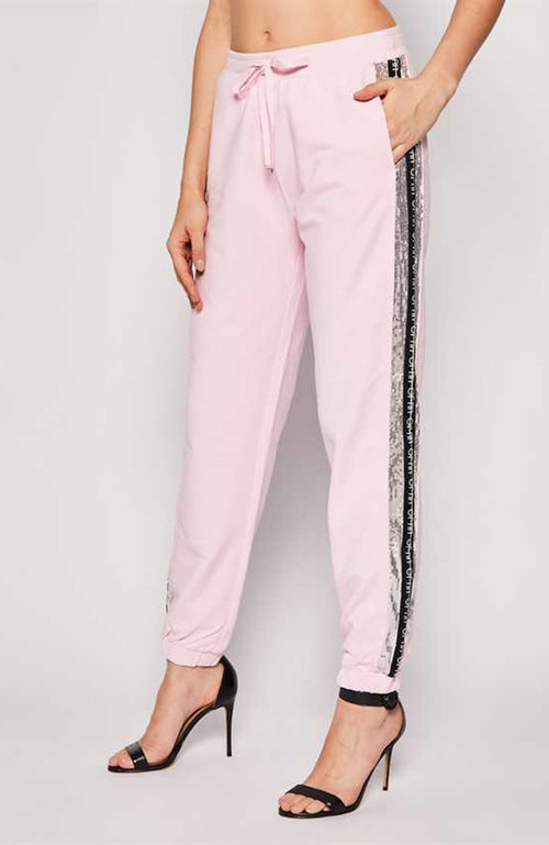 Pantalon Jogger Liu Jo Pink and Black Cotton Sweatpants with Sequin Detailing