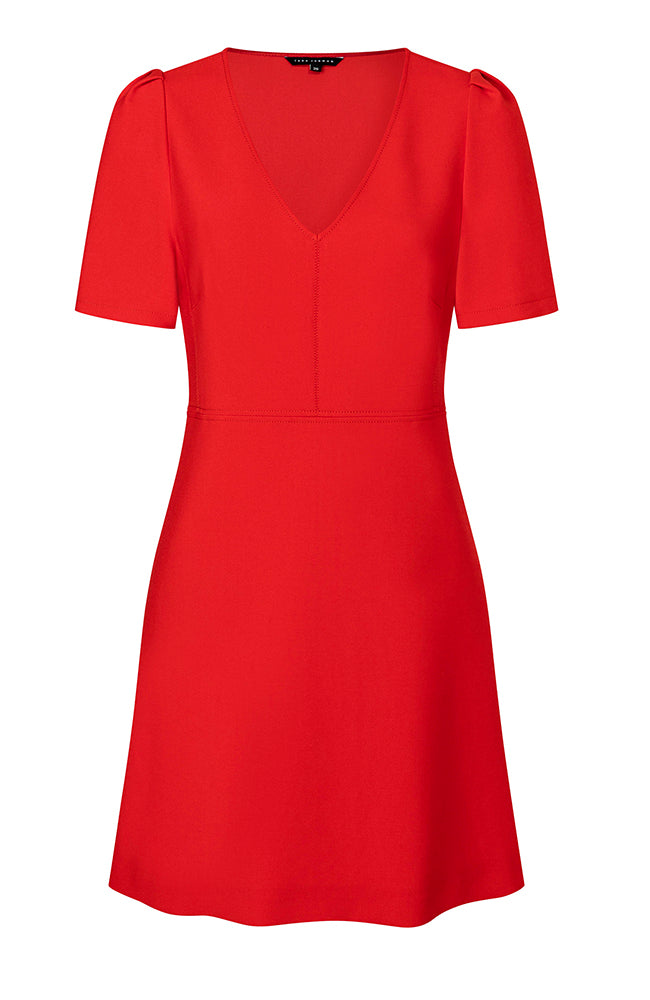 Tara Jarmon Red Dress V-Neck Short Sleeves