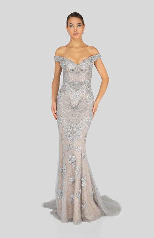 Terani Sweetheart Off Shoulder Shimmer Lace Gown