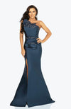 TERANI Evening Dress One Strap 3D Sculpted Beaded Gown