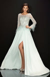 TERANI Feather Accented Gown with Chiffon Skirt Mint Green
