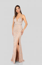 Robe de soirée Bal Fête mariage Terani Open Back Beaded Prom Gown with Slit Mother of the Bride
