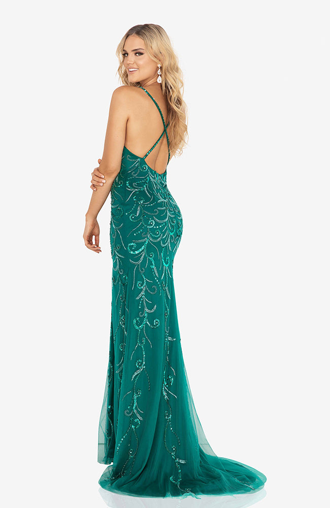 TERANI Beaded Gown with Straps and Slit Emerald