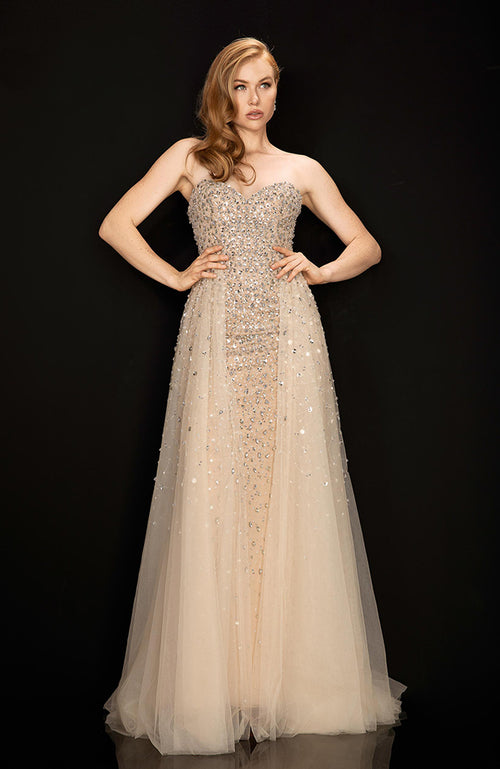 TERANI Champagne Strapless Gown with Sheer Tulle
