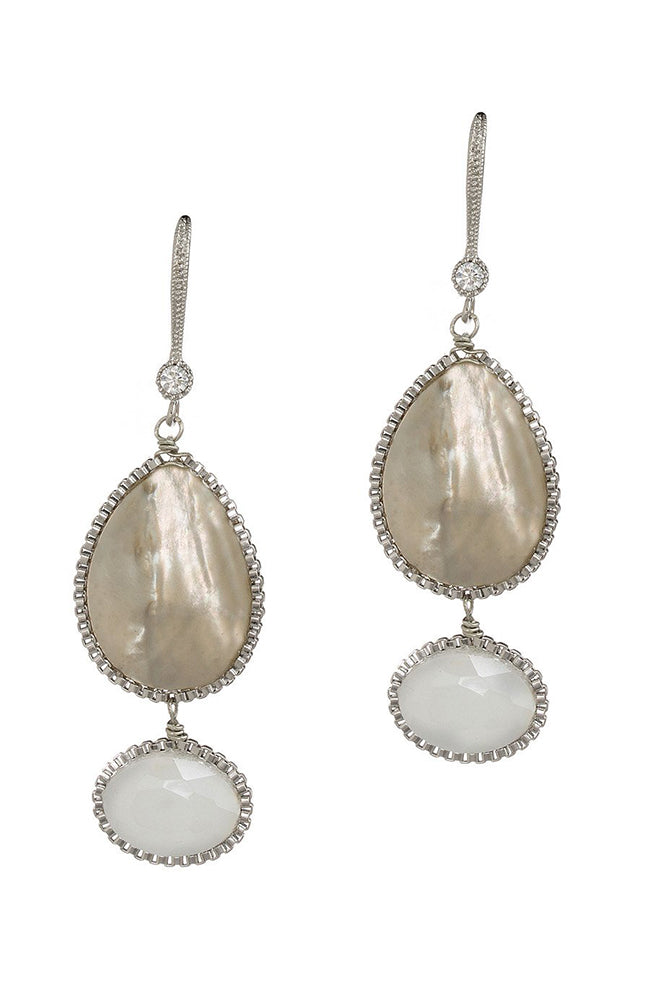 Theia Eudora Two Tier Earrings with Mother of Pearl and Swarovski
