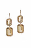 Theia Jewelry Vintage Style Emerald Cut Two Tier Drop Earrings