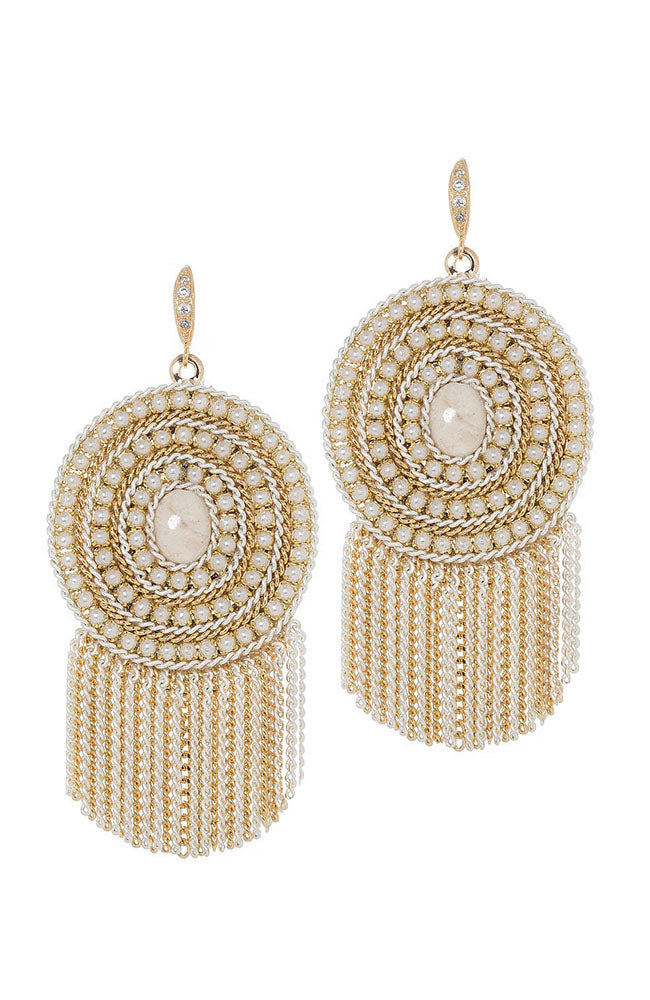 Theia Jewelry Triple Pearl Framed Ivory Agate Earrings with Tassels