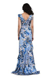 THEIA Printed V-Neck Draped Gown