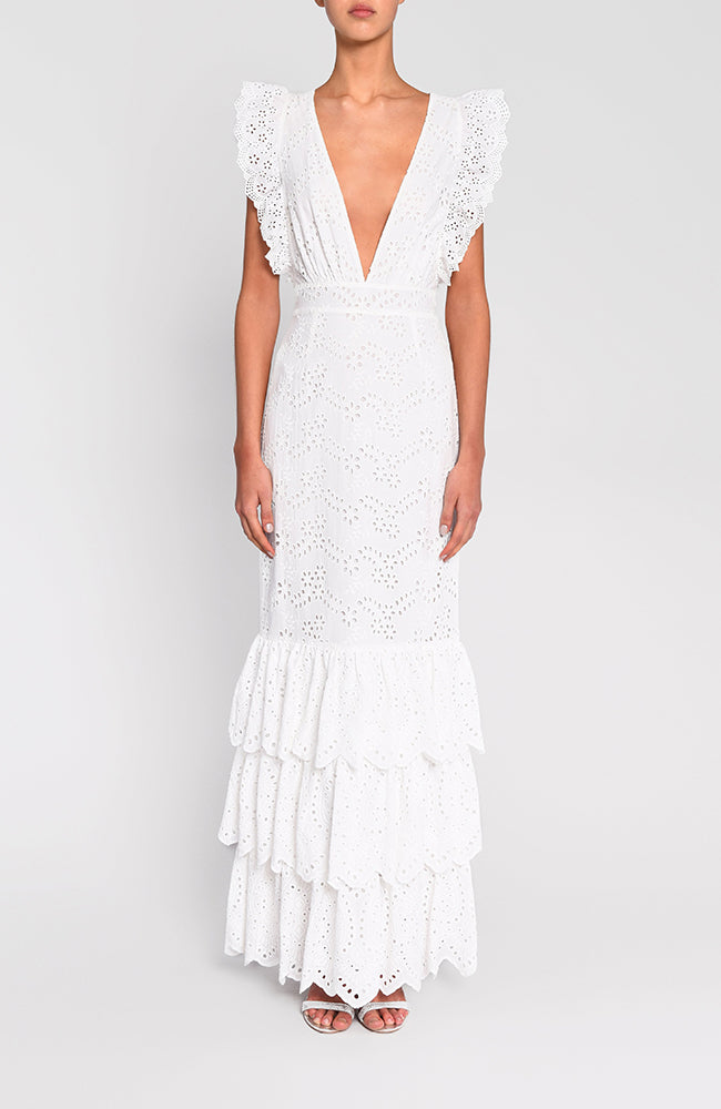 True Decadence White V-Neck Gown with Frills