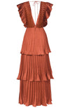 True Decadence Pleated 3-Tier V-neck Gown