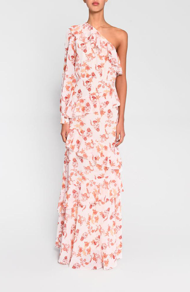 True Decadence Floral Printed One Shoulder Gown