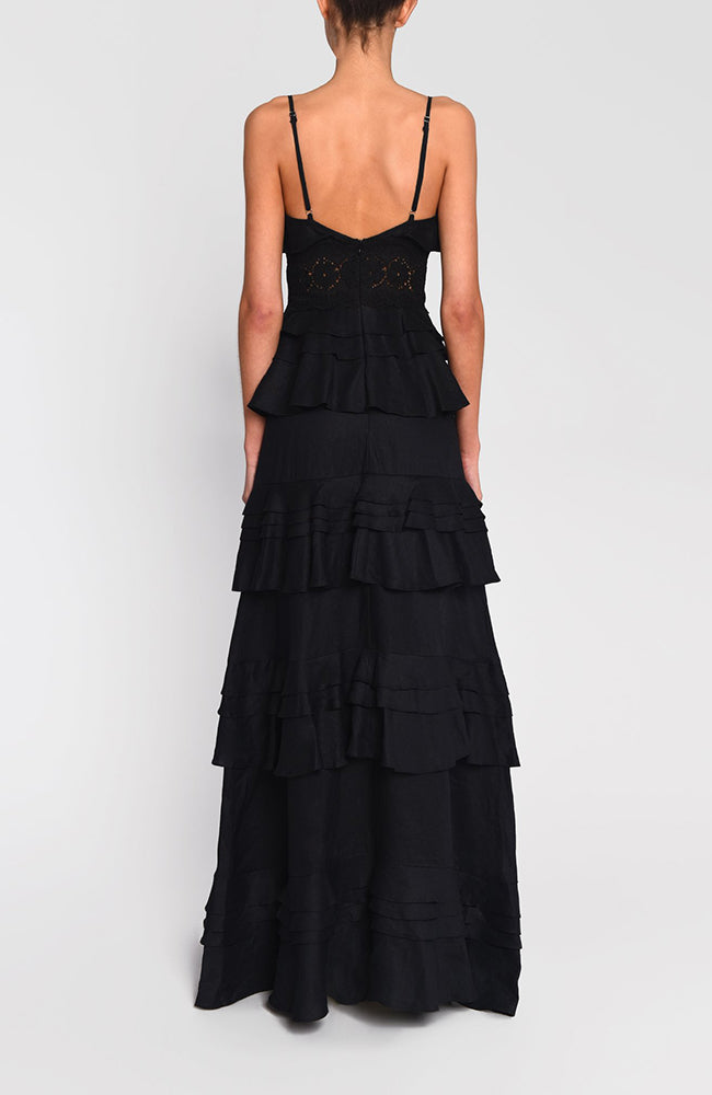 True Decadence Cotton Tier Ruffles Black Gown
