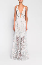True Decadence Light Sage Embroired Lace Gown