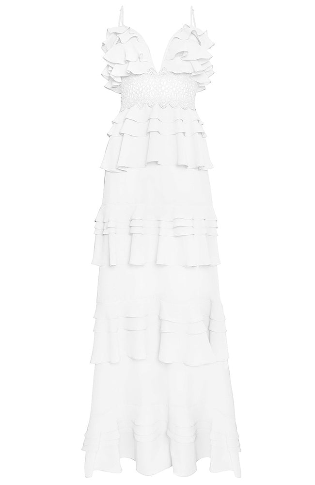 True Decadence Cotton Tier Ruffles White Gown