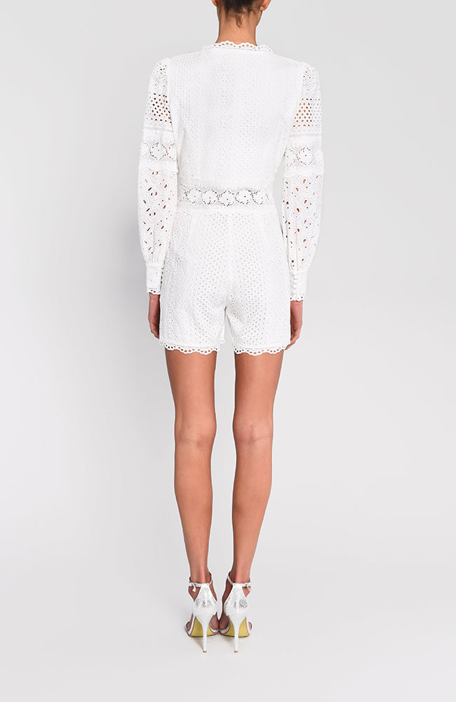 True Decadence White Detail Button Up Romper