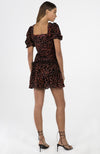 Misha Red Leopard Puffy Sleeve Shirred Mini Dress Robe