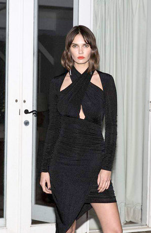 Cocktail Dress with Shirring Crossover Front Opening. Robe de soirée