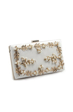 White Bridal Prom Box Shaped Clutch Gold Pearls