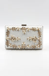 White Rectangle Box Shaped Clutch with Gold and Pearls