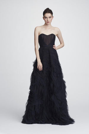 Marchesa Notte Black Strapless Gown Robe de Bal