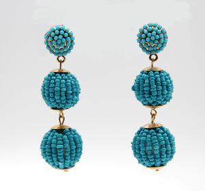 Gem Ball Drop Earrings Turquoise. Pendants d'oreilles à sphères de pierres