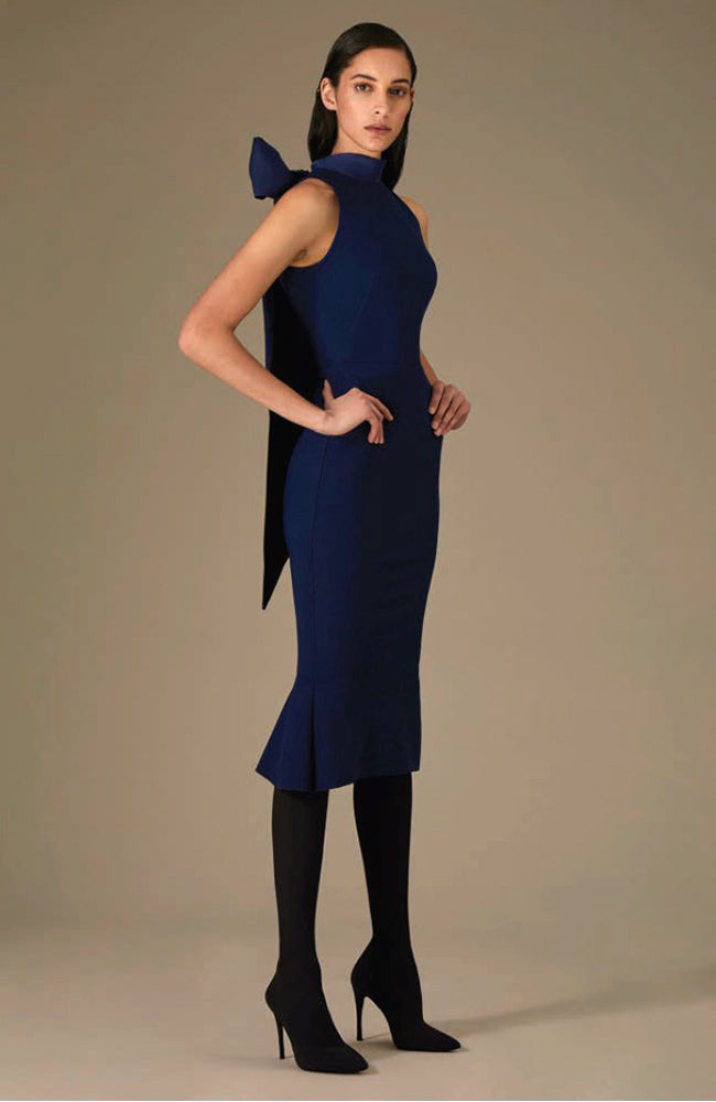 GRETA CONSTANTINE Halter Neckline Dress with Back Bow Robe de cocktail