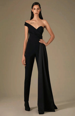 GRETA CONSTANTINE Asymmetrical One Shoulder Jumpsuit with Draping. Combinaison