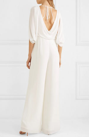HALSTON Heritage Cold Shoulder Open Back Crepe Jumpsuit