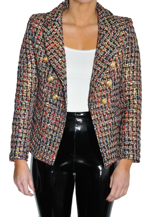 LOA LABEL Tweed Blazer with Gold Buttons. Blazer à boutons dorés