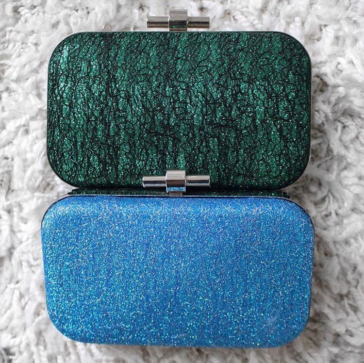 Jewel Tone Box Clutch. Pochette Jewel Tone