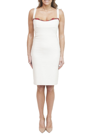 LOA LABEL Jennifer Cocktail Dress Ivory. Robe de cocktail ivoire