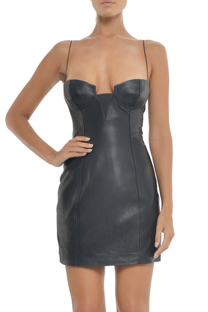Black leather mini dress thin straps bustier sexy open back