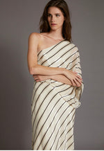 HALSTON Asymmetrical one shoulder striped gown