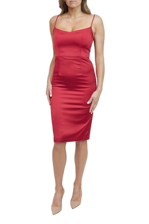 LOA LABEL Red Cocktail Dress. Robe de cocktail rouge