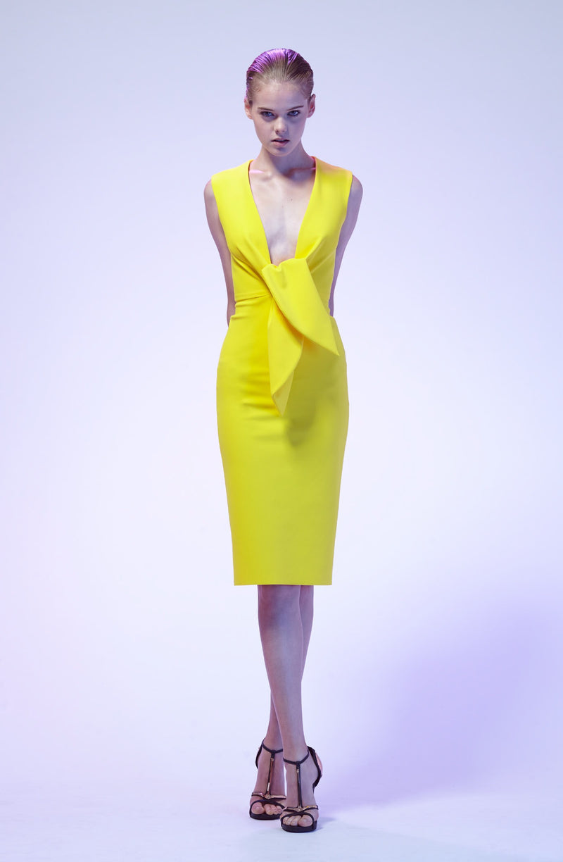 GRETA CONSTANTINE Charo Cocktail Dress Deep Neck