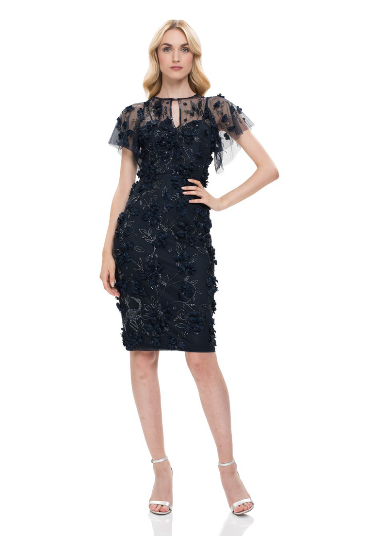 THEIA Beaded Floral Vintage Keyhole Dress. Robe à fleurs